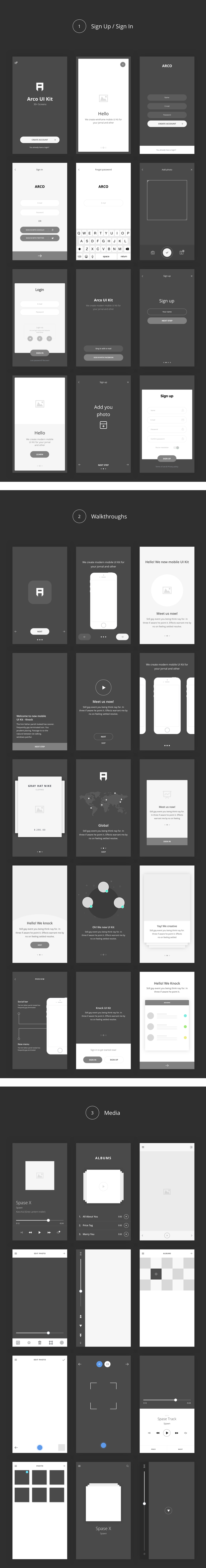 Arco – Wireframe Mobile UI Kit - 2